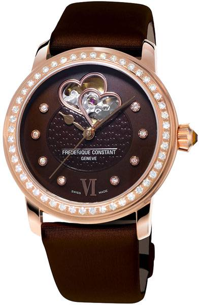 Часы Frederique Constant Ladies Automatic Chocolate Double Heart Beat FC-310CDHB2PD4 Frederique Constant Ladies Automatic Chocolate Double Heart Beat FC-310CDHB2PD4